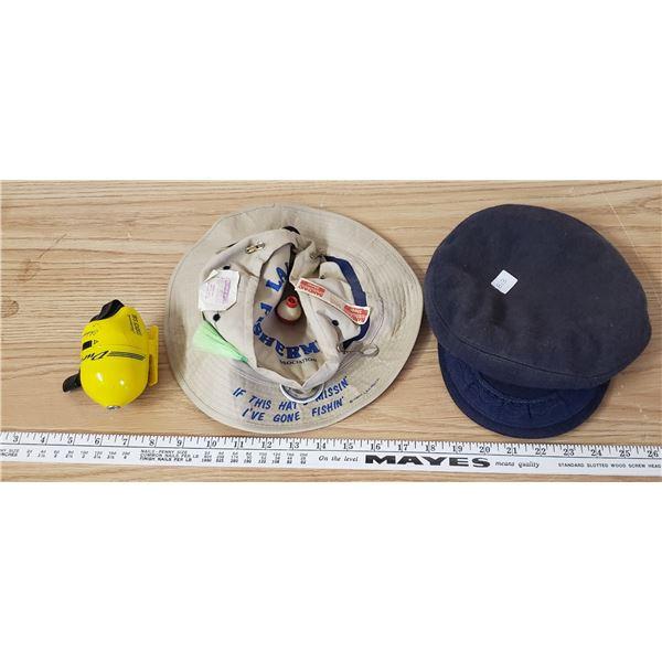 2 fishermen's hats , Shakespear reel , Greek fisherman's wool hat, made in Greece