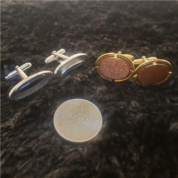 2 signed Anson cufflinks, 1 goldstone