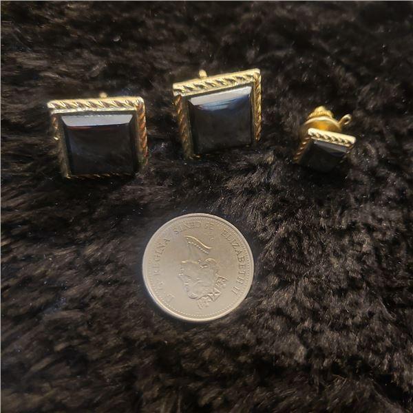 black Alaskan cufflinks and tie pin (Hematite) Alaska black diamond
