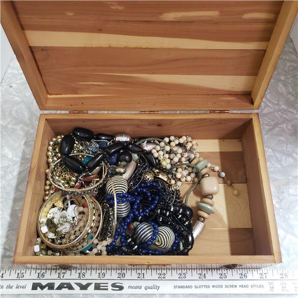 Cedar chest with jewelry