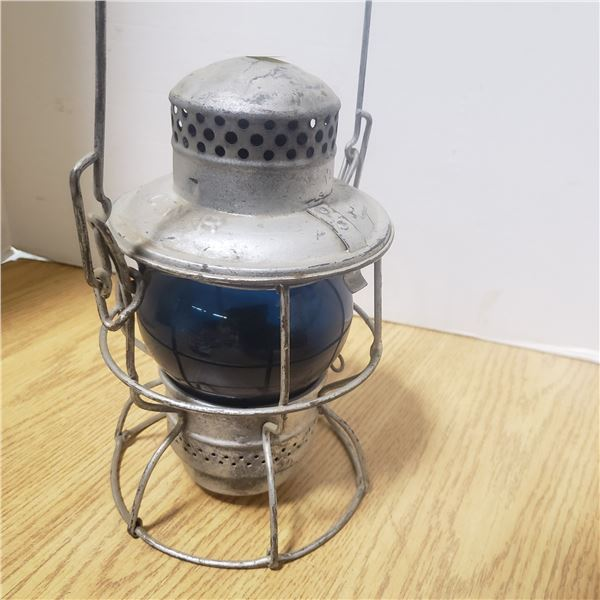 vintage  CNR lamp with blue glass