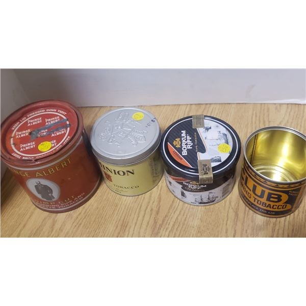 4 tobacco cans