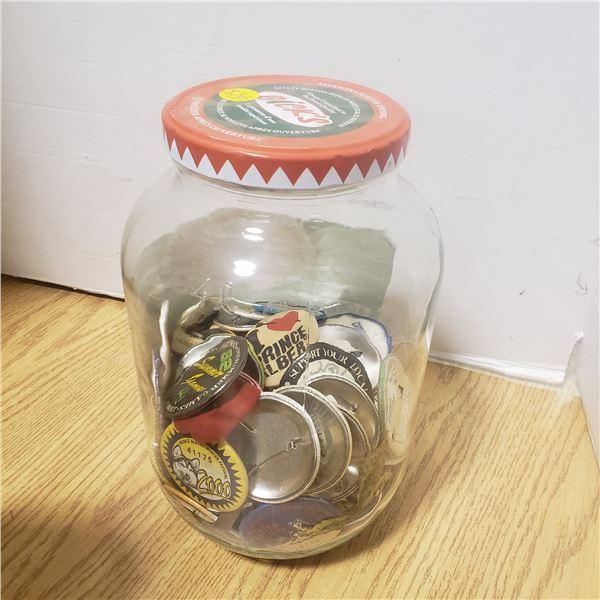 jar pin back buttons. Mostly Sask