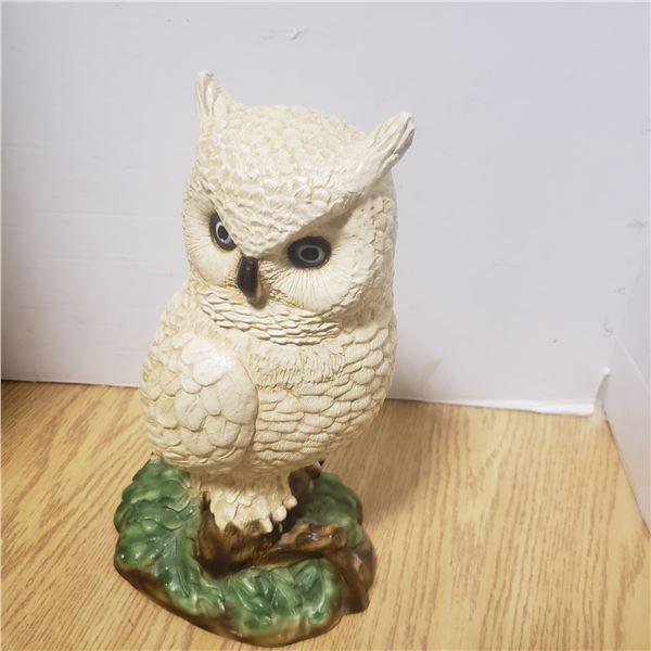 vintage chalkware white owl