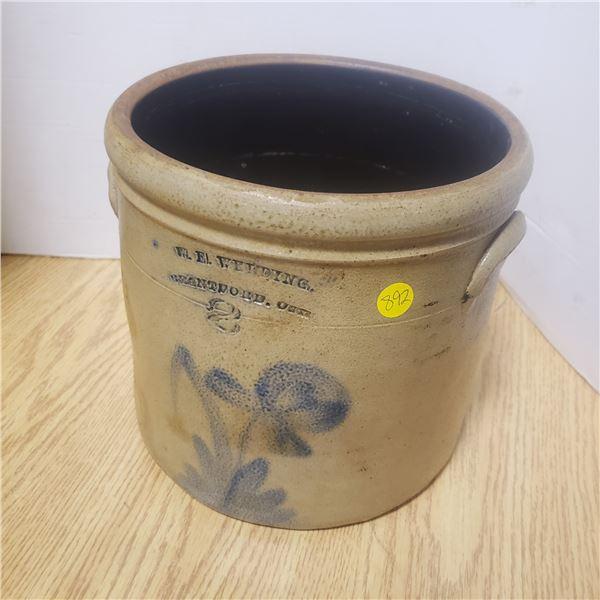 rare WE welding salt glazed 2 gallon crock 1860s