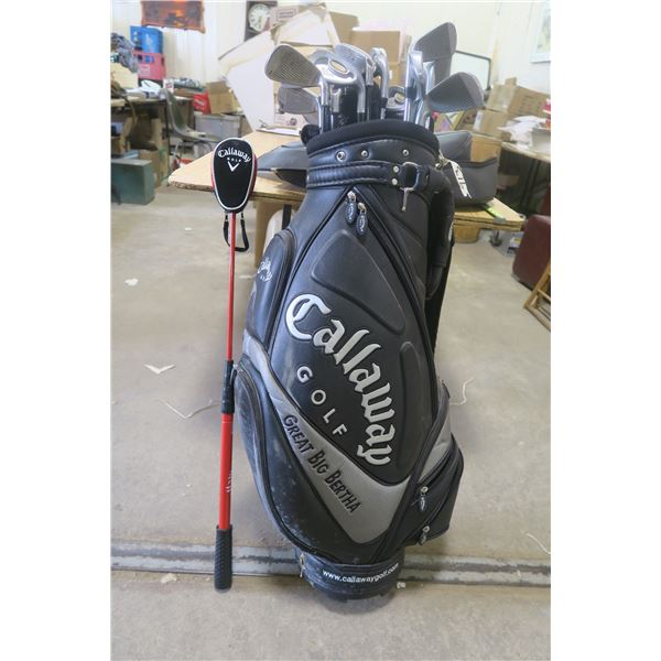 Callaway Gold Bag & Spalding Executive Irons and Wedges + 2 Callaway Clubs