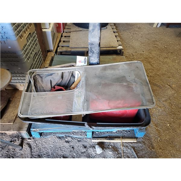 RIDING MOWER BAG PIECES, GAS CANS, WEED BAR