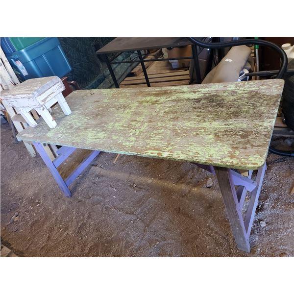 HOMEMADE WOODEN FOLDING TABLE & STOOL