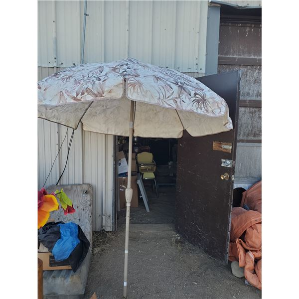 PATIO UMBRELLA -SOME SMALL HOLES, PERFECT FOR SHADE