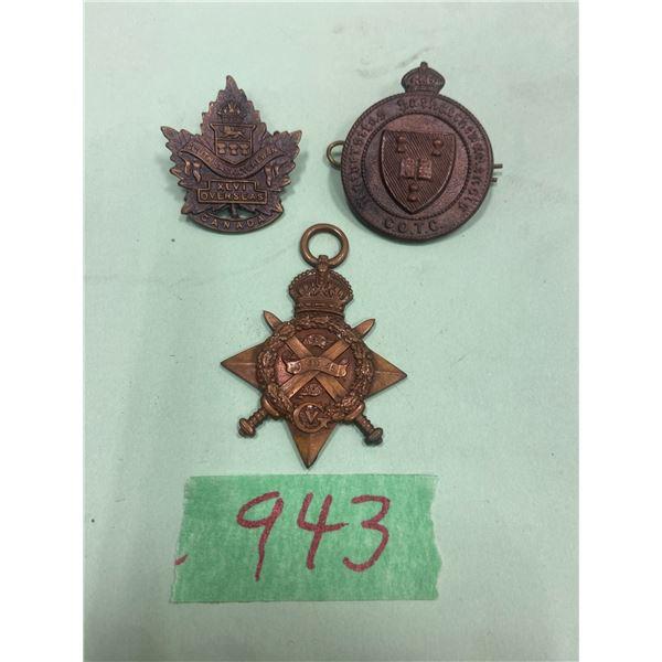 3 Saskatchewan Medals 1-1914 overseas and 2 others