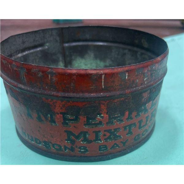 "Rare Hudson Bay tobacco tin - no lid Imperial mixture - 3 1/2"" across"