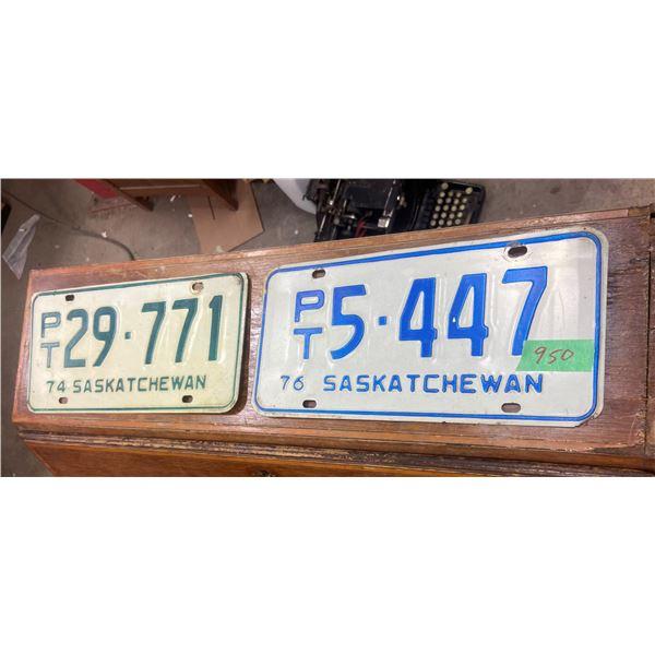 2 Saskatchewan trailer license plates
