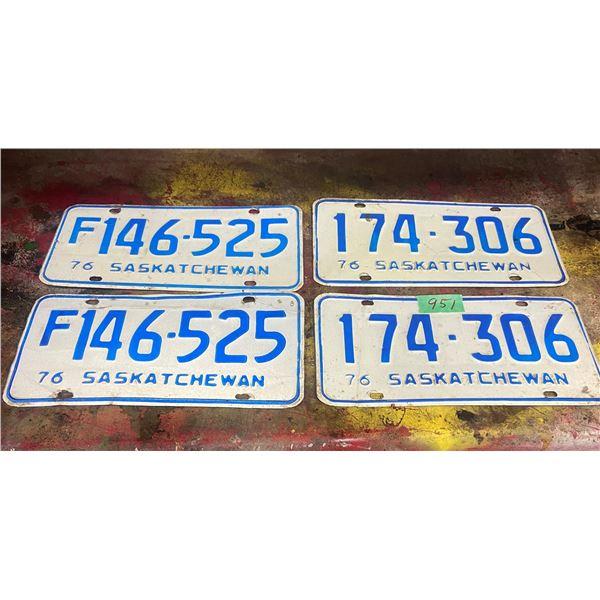 2 pair 1974 and 1976  Saskatchewan license plates - one Farm plates