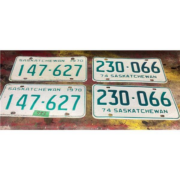 2 pair Saskatchewan license plates 1970 and 1974