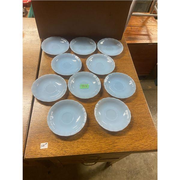 """10 6"""" Pyrex delphite blue saucers"""