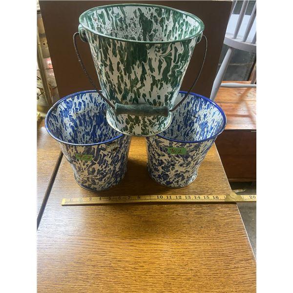 """3 enamel flower pots 8"""" tall"""