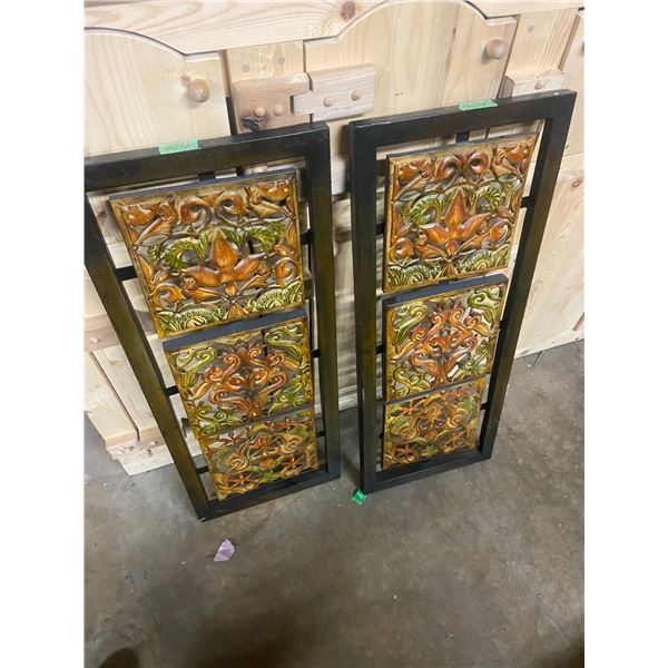 "2 metal decorative wall hangings 33"" tall x 13"" wide"