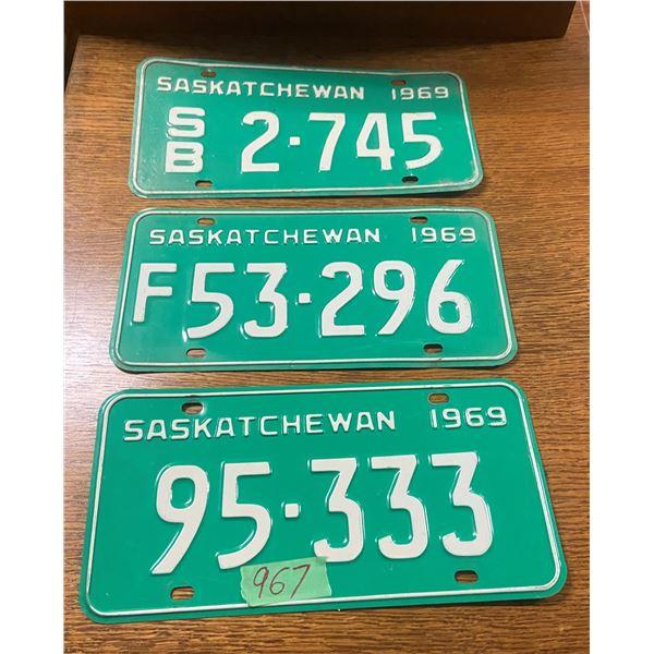 3 - 1969 Saskatchewan license plates - farm plate, school bus plate,  and car