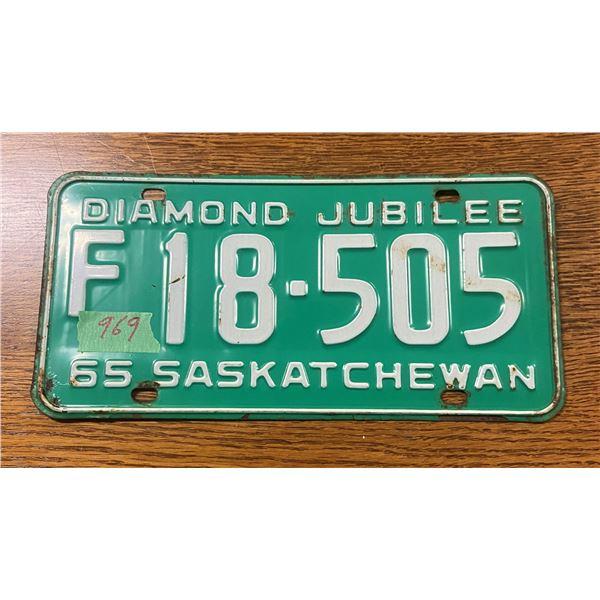 1965 Saskatchewan license plate - farm plate