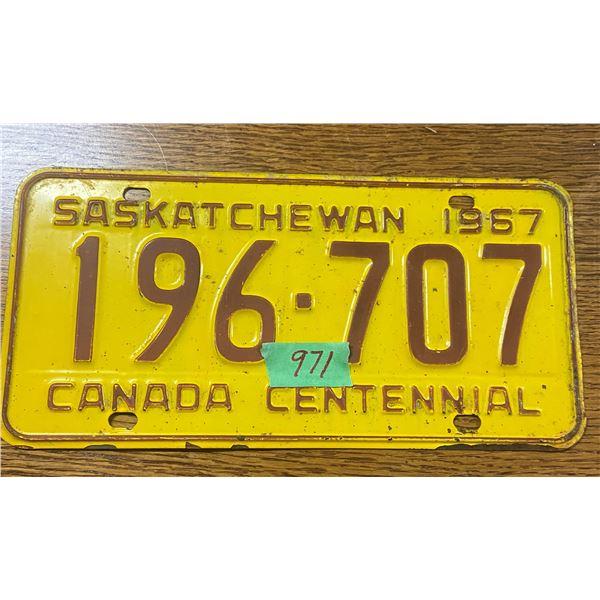 1967 Saskatchewan license plate