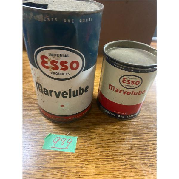 Esso marvel lube tin 1 lb and Esso Mavel lube grease tin