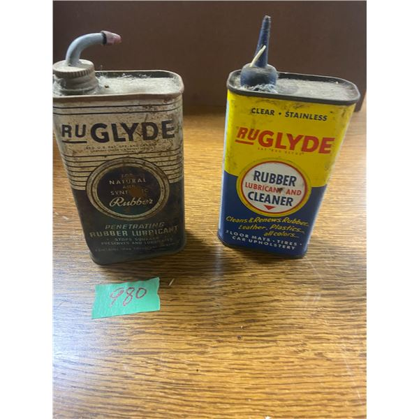 2 RuGlyde lubricant tins metal tops