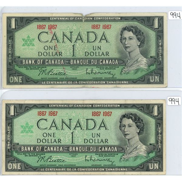 2 1967 Canadian centennial notes, no serial number