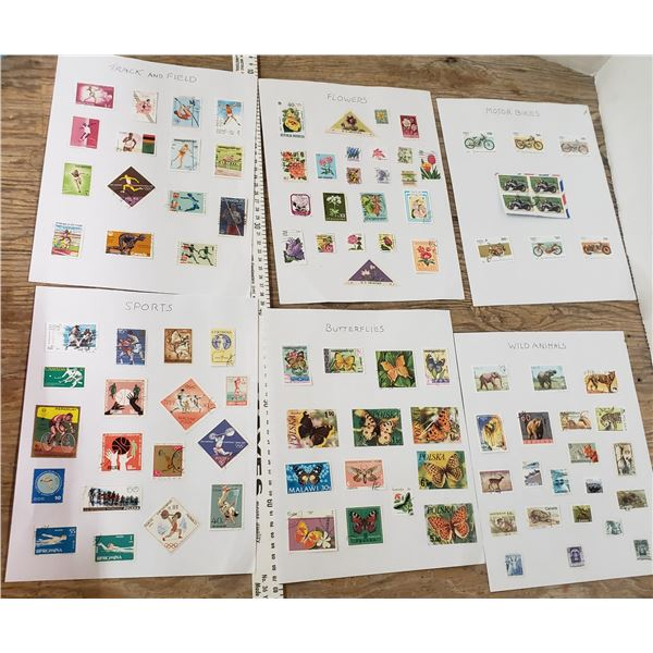 6 sheetsof themed stamps