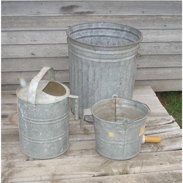 3 galvanized pails