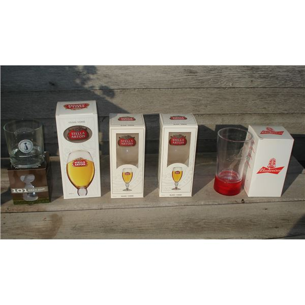 assorted beer glasses lot