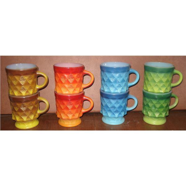 8 diamond pattern Fire King mugs