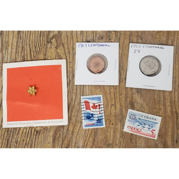Centennial stamps and coins with pin 1967 lot