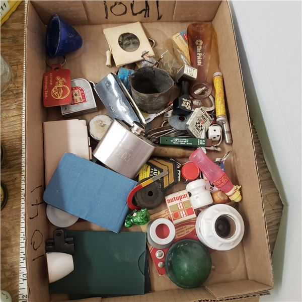 flat of misc dice, tools, flasks