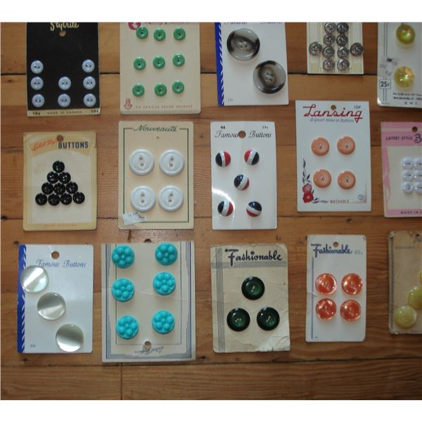 assorted vintage buttons and cards