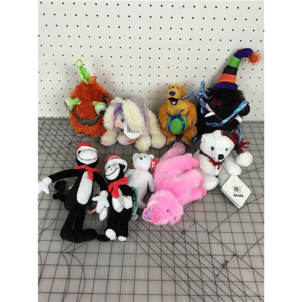 MISC LOT OF PLUSH TOYS CAT IN THE HAT TY ETC