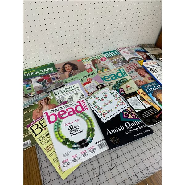 LOT OF CRAFTING CROCHET BEADS ETC BOOKS AND MAGAZINES