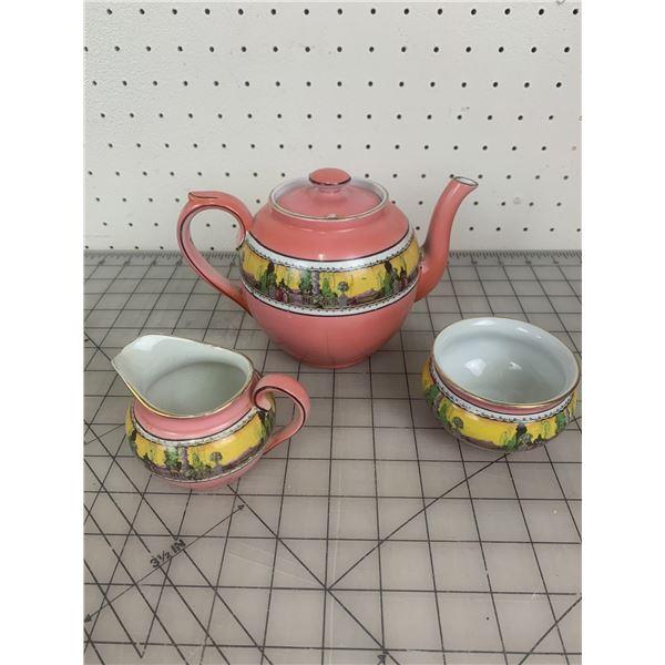 ANTIQUE WINTONWARE TEA POT CREAM AND SUGAR CRACK IN TEAPOT