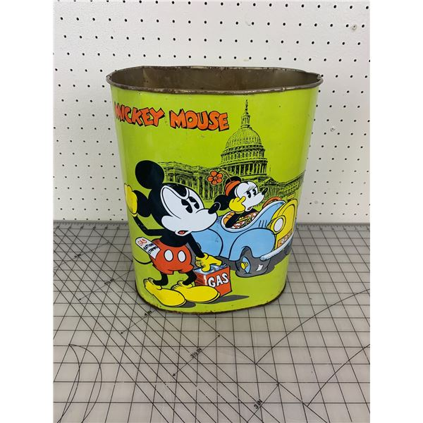 VINTAGE METAL MICKEY MOUSE GARBAGE CAN