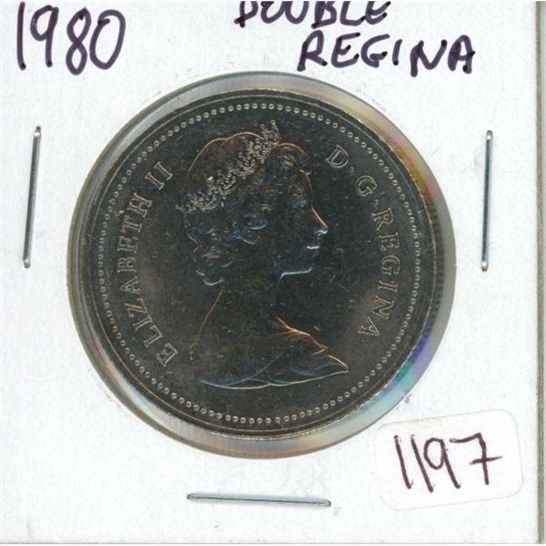 1980 Dollar coin Double Regina