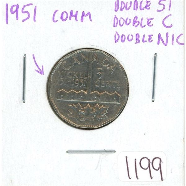 1951 Comm Double 51, Double C, Double NIC  nickel