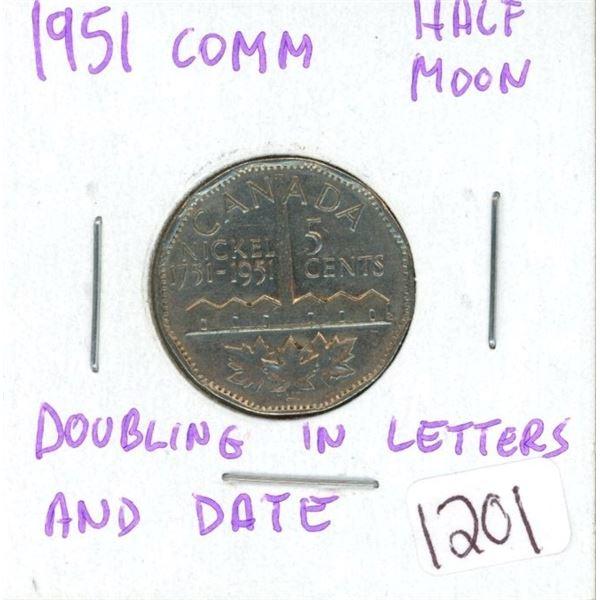 1951 Comm half moon nickel
