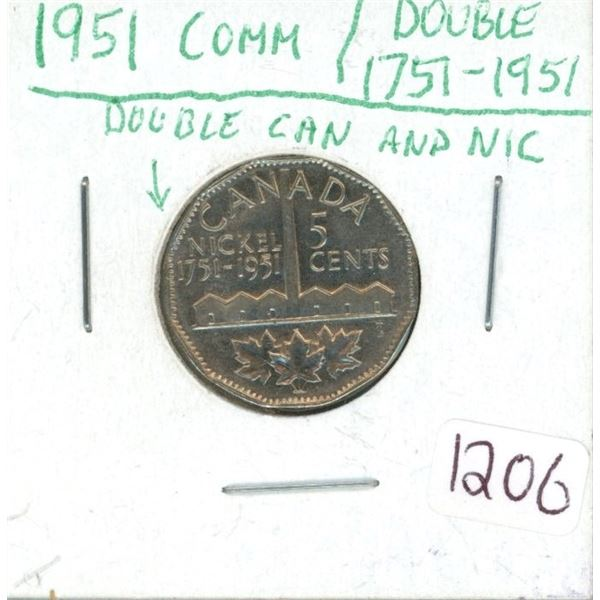 1951 Comm Nickle Double Can and Nic Double 1757-1951