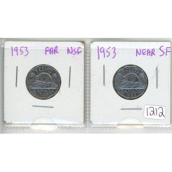 1953 2 nickels near NSF far NSF