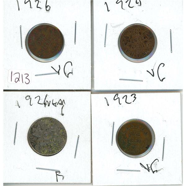 4 coins 1926 nickel 3 pennies 1923 1924 1926