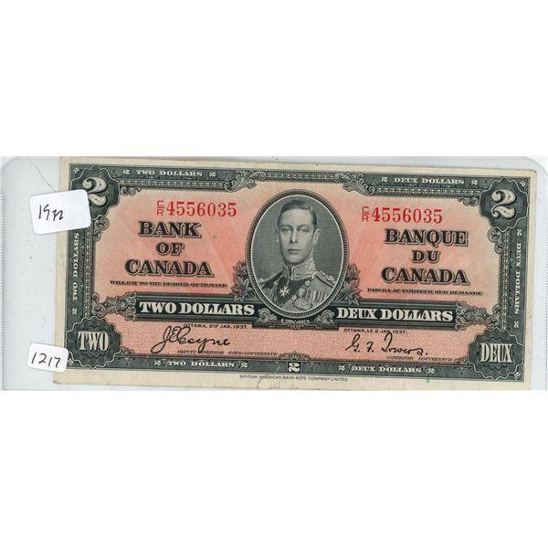 1937 2 dollar bill