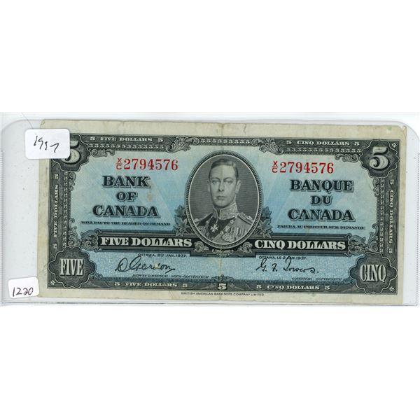 1937 5 dollar bill
