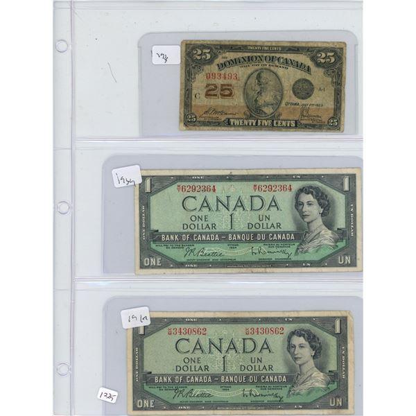3 bills 1923 25 cent 2x 1954 1 dollar