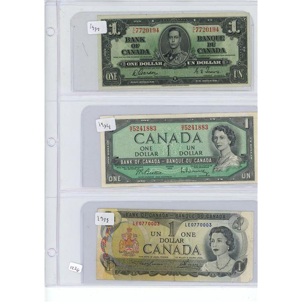 3X $1 dollar bills 1937, 1954, 1973