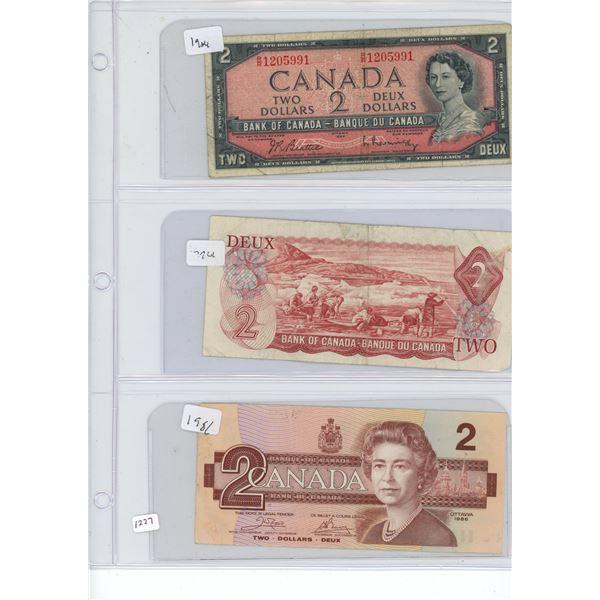 3X $2 two dollar bills 1934, 1974, 1981