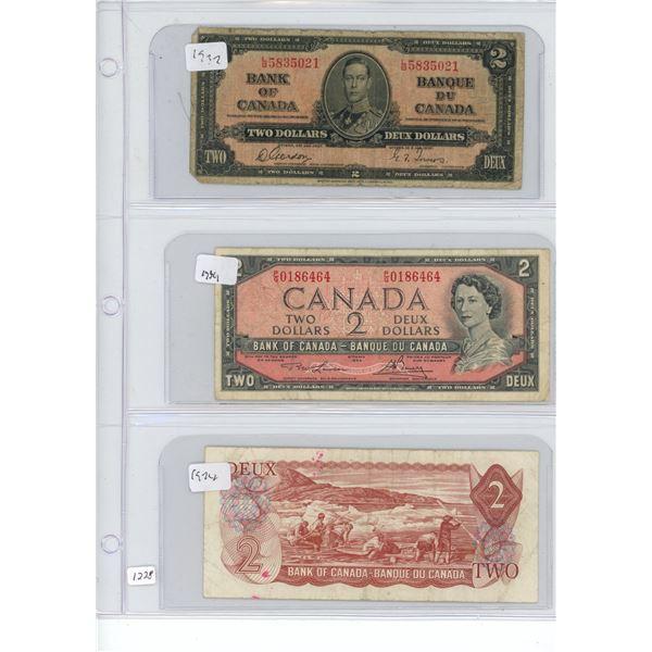3X $2 dollar bills 1937, 1954, 1974